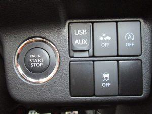 エンジンスタートボタン、USB・AUX端子、レーダーブレーキサポート、i-stop、ESP OFFスイッチ